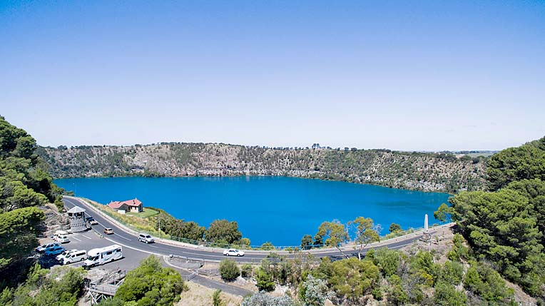 Tmg Volcanic Crater Lakes Blue Lake Aerial 2  TBW Newsgroup