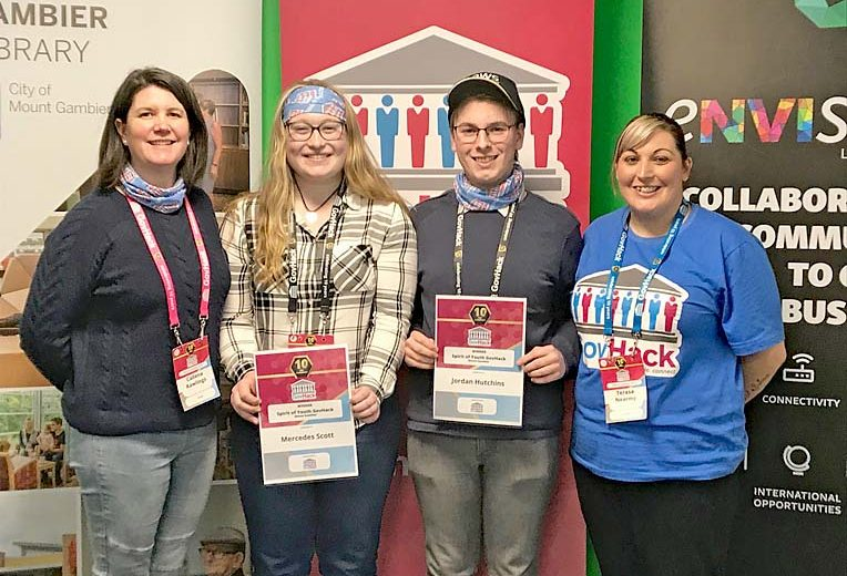 Envision Limestone Coast Manager Callena Rawlings With Spirit Of Govhack Youth Winners Mercedes Scott And Jordan Hutchins And Library Youth Services Coordinator Terasa Nearmy  TBW Newsgroup