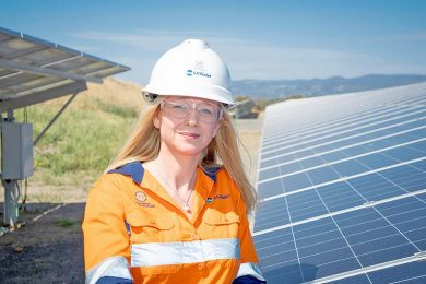 Sa Water Senior Manager Zero Cost Energy Future Nicola Murphy With One Of The Utilitys Existing Solar Arrays  TBW Newsgroup